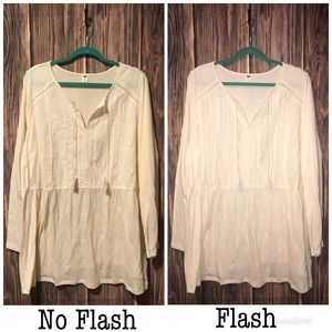 NEW Old Navy Ivory Peasant Long Sleeve w/ Tassels